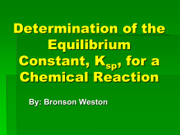 Determination of the Equilibrium Constant, Ksp