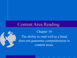 Chapter 10- content area reading