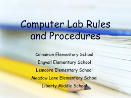 Computer Lab Rules - Lemoore Union Elementary School District