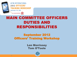 Committee Officers` Duties and Responsibilities