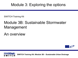SWITCH Training Kit: Module 3B – Sustainable Urban Drainage