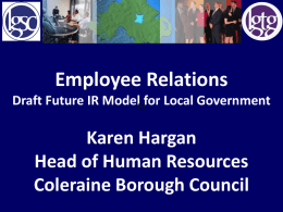 Employee Relations – Draft Future IR Model for Local Government