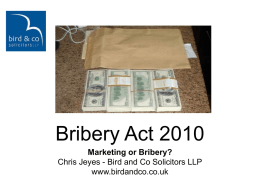 Bribery Act 2010 - Bird and Co Solicitors
