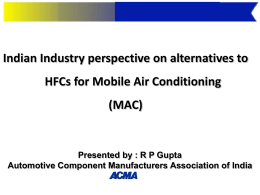 Indian Industry Perspective on Alternatives to HFCs for