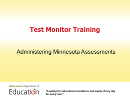Test Monitor Training