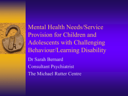 mental health needs of children and adolescents with challenging