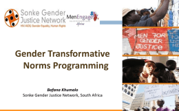 Gender Transformative Norms Programming
