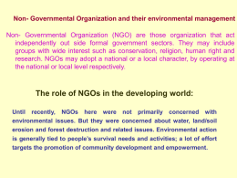 Non- Governmental Organization and their