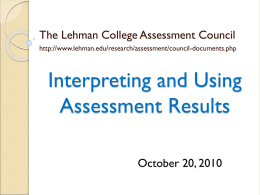 Interpreting and Using Assessment Results