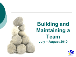 Team Building and Team Maintenance – a Business Issue?
