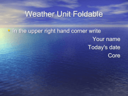 Weather Unit Foldable - Cole`s Science Pages