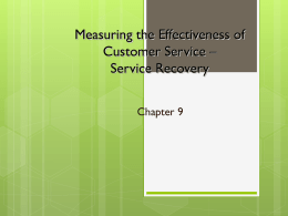 Measure the Effectiveness of the Service Process – Service Recovery