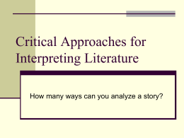 Critical Approaches for Interpreting Literature