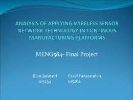 INDUSTRIAL APPLICATIONS OF WIRELESS SENSOR NETWORKS