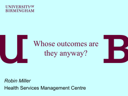 Whose outcomes are they anyway? - Social Services Research Group