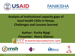 Challenges and lessons learnt - HIV Capacity Building Partners Summit