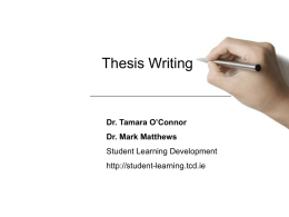 Thesis Writing 2011 - Student Learning Development