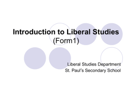 Introduction to Liberal Studies