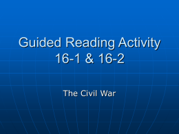 Guided Reading Activity 16-1 & 16-2
