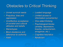 Obstacles to Critical Thinking