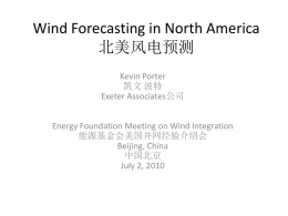 Wind Forecasting in North America