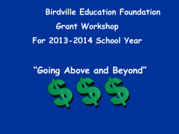 Going Above and Beyond - Birdville Education Foundation