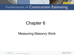 Chapter 6: Measuring Masonry Work