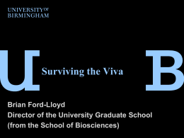 Surviving the viva - University of Birmingham Intranet