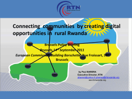 Strategic Plan for 1.000 telecentres in Rwanda
