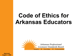 Arkansas Education Department Ethics Presentation
