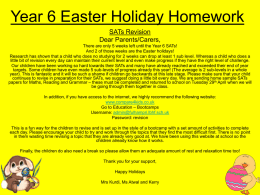 Year 6 Easter Holiday Homework