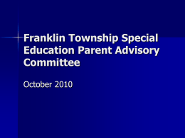 Franklin Township Special Education Parent Advisory Committee