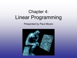 Chapter 3: Linear Programming