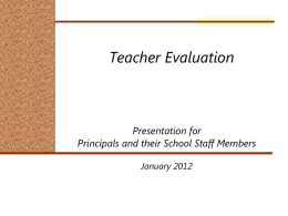 Principals - Teachers January, 2012