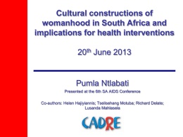 Cultural Constructions of Womanhood and Implecations for