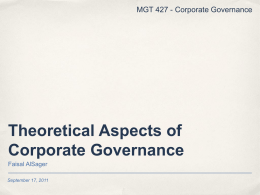 002 Theoretical Aspects of Corporate Governance