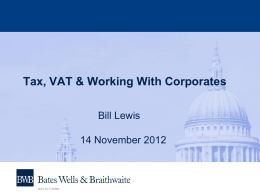 Tax, VAT & Working With Corporates