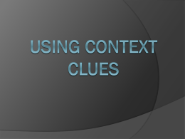 Using Context Clues - Merrillville Community School