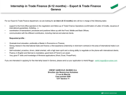 Internship in Trade Finance