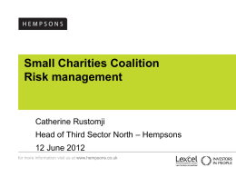 TDR Limited – Strategy Day - Small Charities Coalition