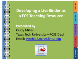 Developing a LiveBinder as a Teaching Resource in FCS Education