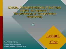 LAND TRANSPORTATION ENGINEERING (Notes for Guidance )