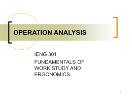 operation analysis - Industrial Engineering Department EMU-DAU
