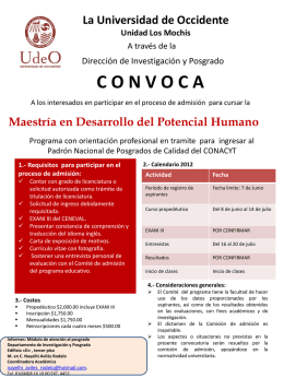 Descargar Convocatoria - Universidad de Occidente