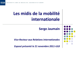 Les relations internationales à l`ULB