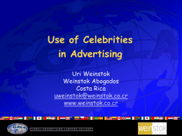 USE OF CELEBRITIES IN ADVERTISING