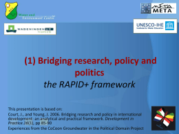 Bridging Research, Policy and Politics