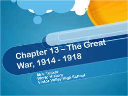 Chapter 13 – The Great War, 1914
