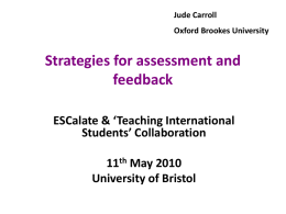 Strategies for assessment and feedback - Jude Carroll