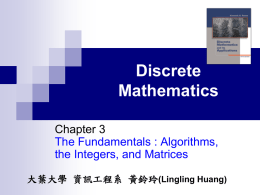 Algorithms, the Integers, and Matrices